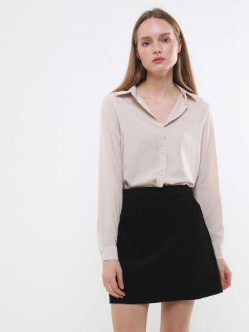 חצאית מיני קורדרוי עם כיסים