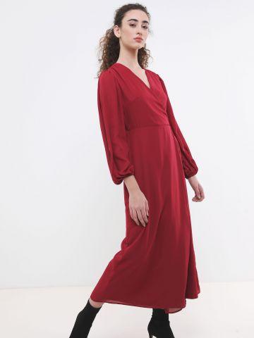 שמלת מקסי מעטפת עם שרוולים נפוחים