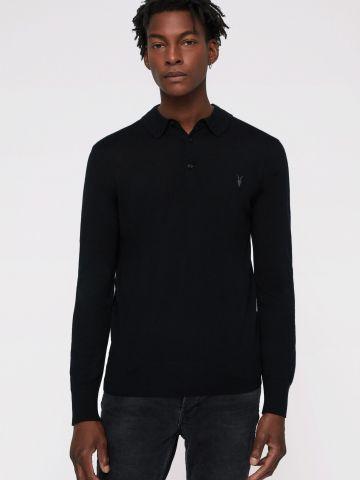 חולצת פולו צמר ארוכה עם לוגו