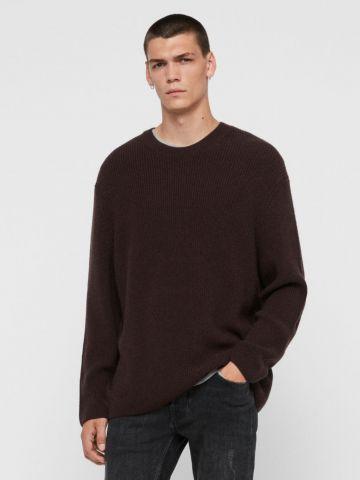 סוודר ריב צמר חלק