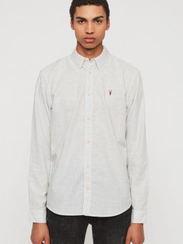חולצת פסים מכופתרת עם לוגו של ALL SAINTS