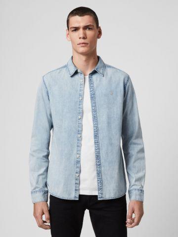 חולצת ג'ינס מכופתרת עם רקמת לוגו