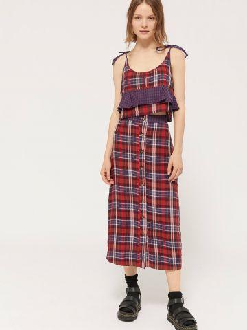 חצאית מידי בהדפס משבצות עם כפתורים UO