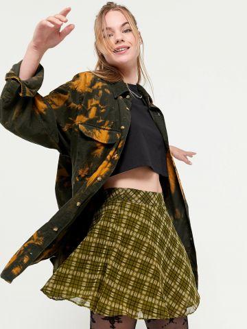 חצאית מיני גזרה גבוהה בהדפס משבצות UO