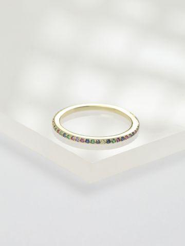 טבעת כסף דקה בשיבוץ זירקונים מולטי