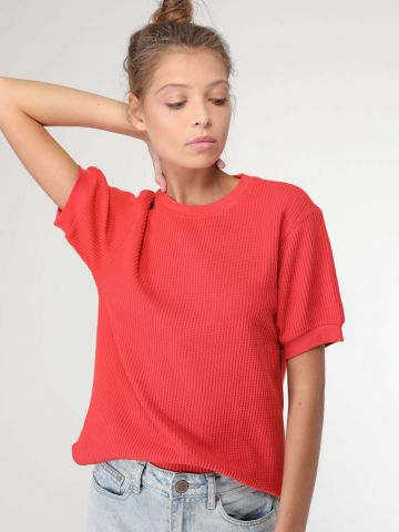 חולצת סריג בטקסטורת וופל