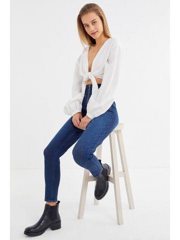 ג'ינס סקיני בגזרה גבוהה עם רוכסנים UO