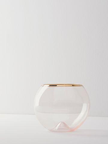 כוס זכוכית נמוכה עם שפה מוזהבת