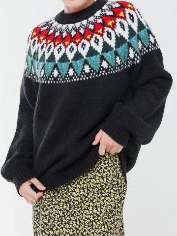 סוודר צמר אוברסייז בשילוב דוגמה צבעונית UO