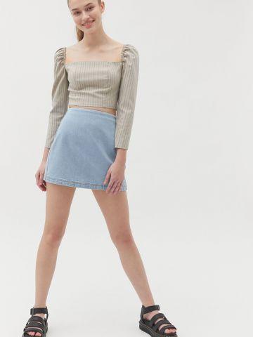 חצאית ג'ינס מיני בגזרה גבוהה BDG