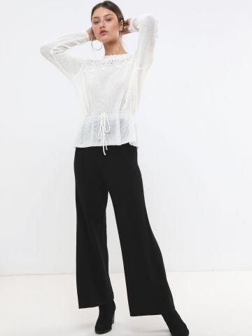מכנסי סריג ריב בגזרה מתרחבת