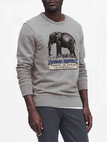 סווטשירט עם הדפס פיל בשילוב לוגו