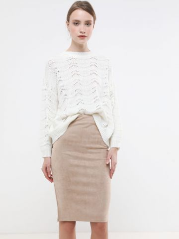 חצאית מידי דמוי זמש
