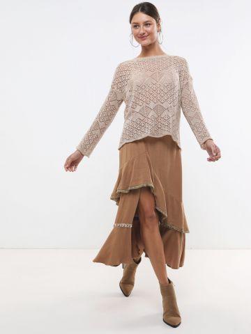 חצאית מקסי שכבות אסימטרית