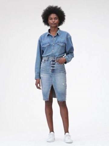 חצאית ג'ינס עיפרון עם שסע