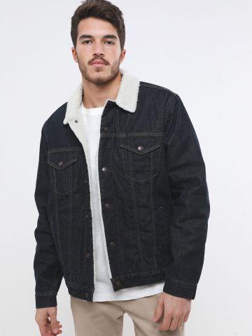 ג'קט ג'ינס עם בטנת דמוי צמר