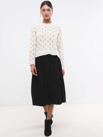 חצאית מידי פליסה דמוי זמש