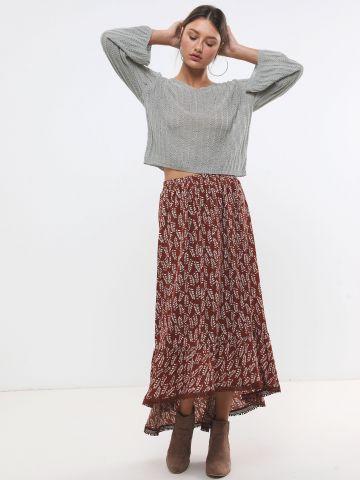 חצאית מקסי בהדפס עלים