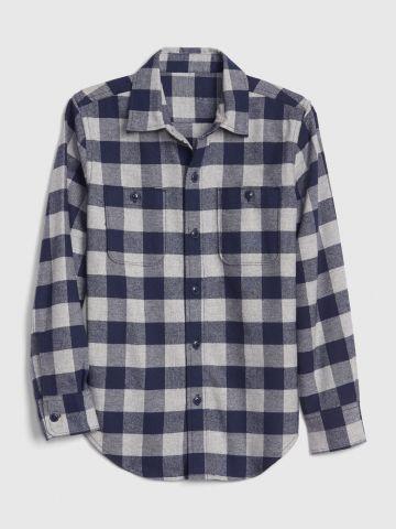 חולצת פלנל מכופתרת בהדפס משבצות / בנים