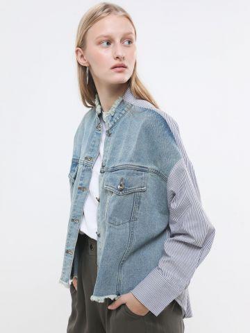 ג'קט ג'ינס בשילוב חולצה מכופתרת