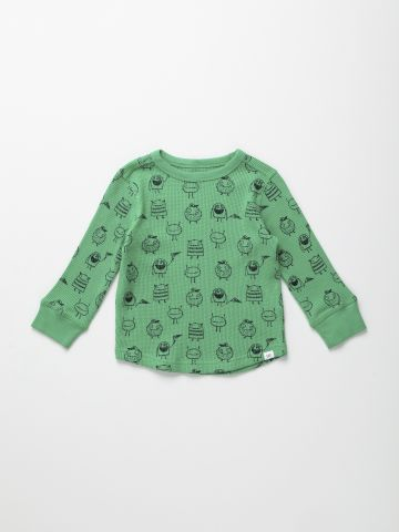 חולצת וופל טרמית בהדפס איורים / 12M-5Y