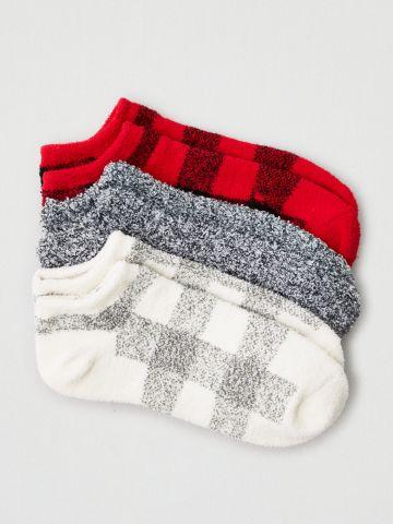 מארז 3 זוגות גרביים נמוכים פלאפי / נשים