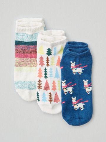 מארז 3 זוגות גרביים נמוכים עם הדפסים / נשים