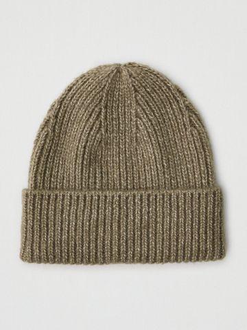 כובע צמר סרוג עם קיפול