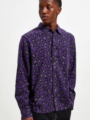 חולצת פלנל מכופתרת בהדפס חברבורות UO