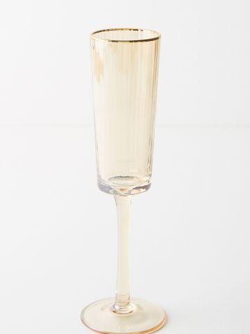 מארז 4 כוסות שמפניה מזכוכית עם שפה מוזהבת Rochelle
