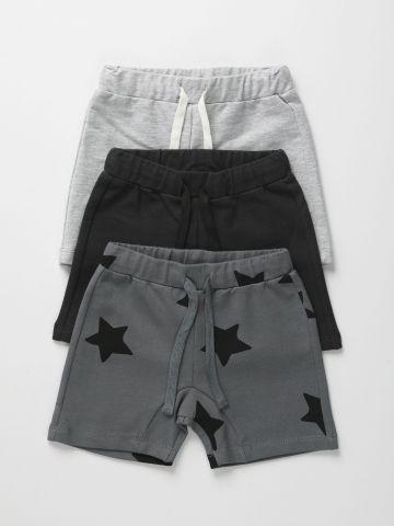 מארז 3 מכנסי פרנץ' טרי קצרים בצבעים שונים / 6M-6Y