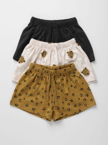מארז 3 מכנסי סינגל ג'רסי קצרים בצבעים שונים / 6M-6Y