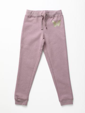מכנסי טרנינג פוטר עם פרפר נצנצים / בנות