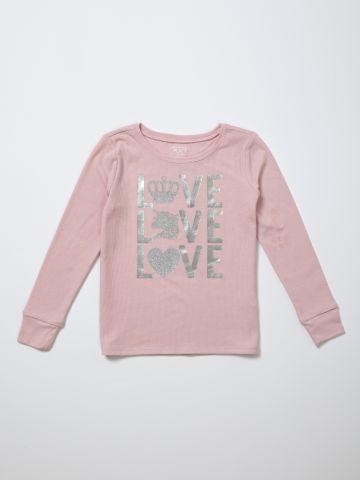 טי שירט עם הדפס Love גליטר / בנות