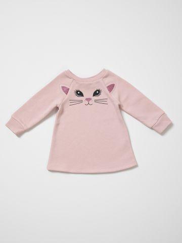שמלת סווטשירט עם הדפס חתולה / 6M-5Y