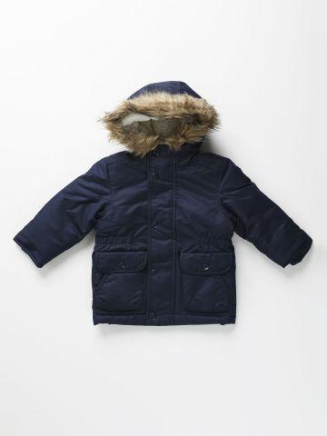 מעיל פוך לונגליין עם כובע ועיטור דמוי פרווה / 12M-5Y