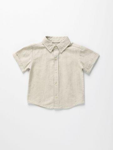 חולצה מכופתרת בשילוב פשתן / 12M-6Y
