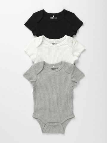 מארז 3 בגדי גוף ריב בצבעים שונים / 0-2Y