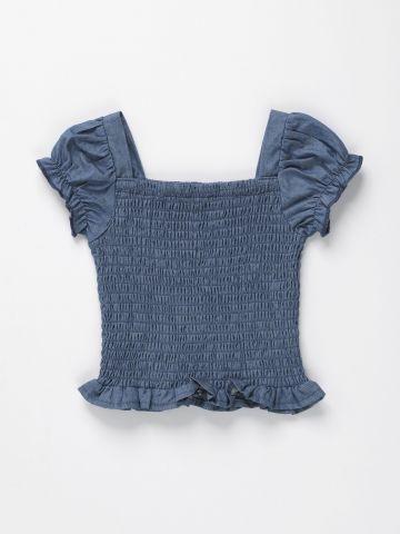 חולצה אלסטית עם שרוולי מלמלה / 12M-6Y