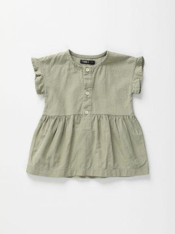 שמלת פשתן עם כפתורים ומלמלה / 6M-4Y