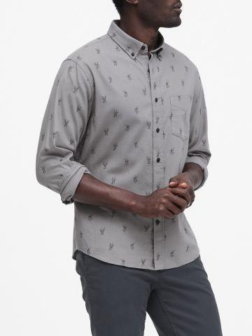חולצה מכופתרת בהדפס איילים
