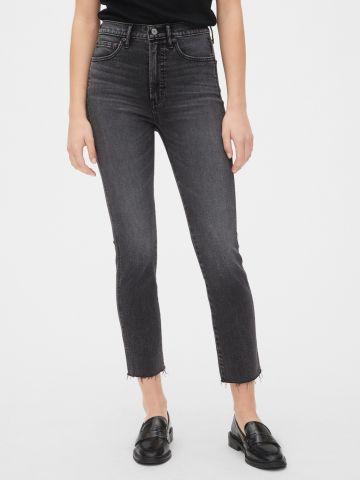 ג'ינס ווש גבוה עם סיומת פרומה