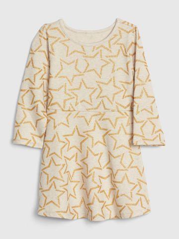 שמלה בהדפס כוכבים עם נצנצים / 12M-5Y