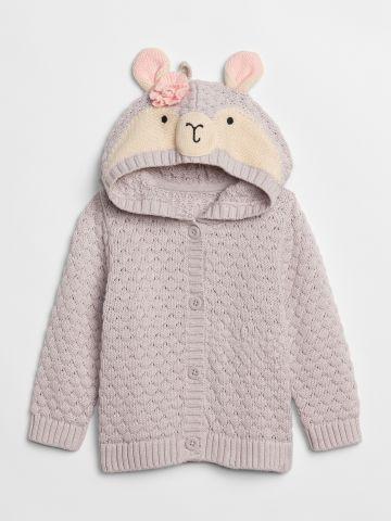 סוודר עם כובע בדוגמת לאמה / 0-24M
