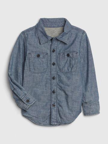 חולצה מכופתרת דמוי ג'ינס / 12M-5Y