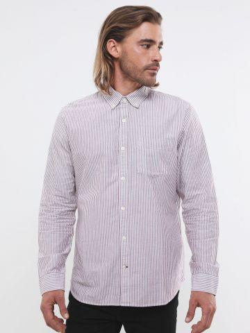 חולצה מכופתרת בדוגמת פסים