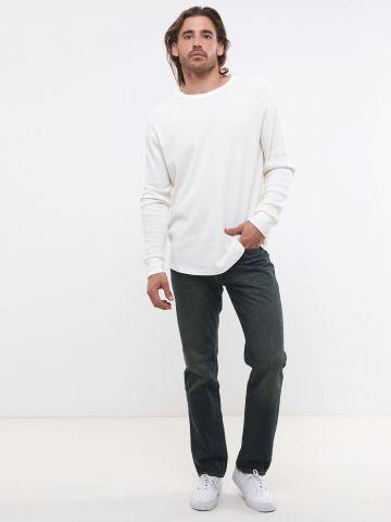 ג'ינס ארוך בגזרה ישרה עם הבהרות