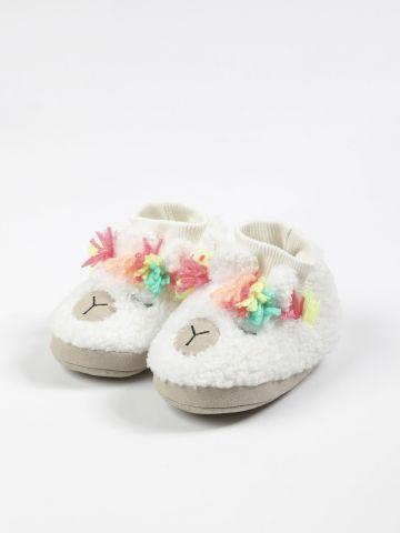 נעלי בית בדוגמת לאמה / בייבי בנות