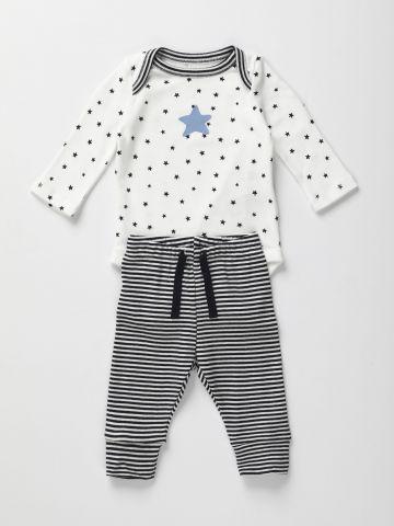 סט בגד גוף ומכנסיים בהדפס כוכבים / 0-12M