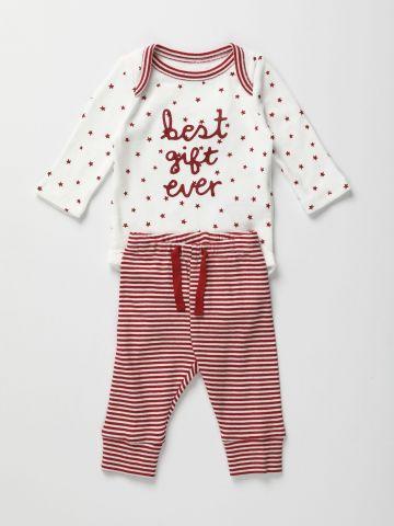 סט בגד גוף ומכנסיים בהדפס כוכבים  0-12M / Best Gift Ever